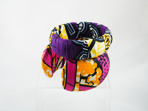 Ayo/Lesedi Ankara Print Cuff & Medium Bangle Stack