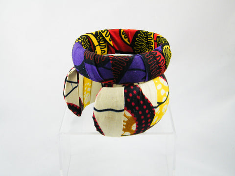 Keyara/Reta Ankara Print Cuff & Medium Bangle Stack