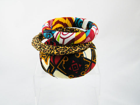 Naja/Nichole/Whimsy Ankara & Animal Print Three Bangle Stack