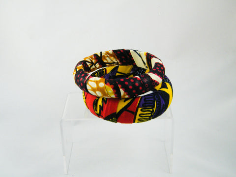 Keyara/Reta Ankara Print Two Bangle Stack