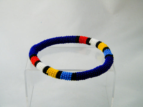 Cape Town - Blue Beaded Bangle Bracelet