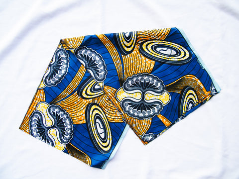 South Africa - Blue Ankara Cotton Headwrap/Sash