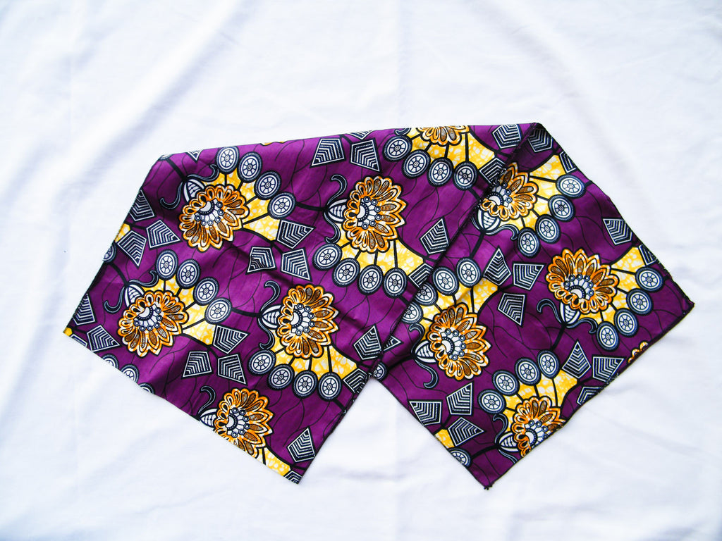 South Africa - Purple Ankara Cotton Headwrap/Sash