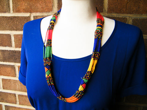 Cape Town - Multi-Colored Beaded Strand Necklace