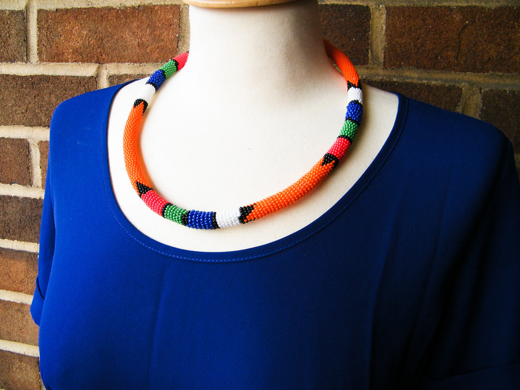 South Africa - Orange Beaded Necklace