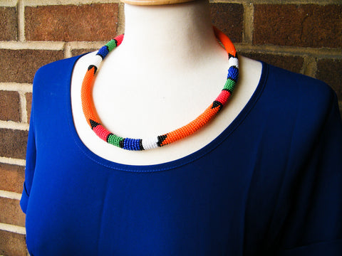Cape Town - Orange Beaded Necklace