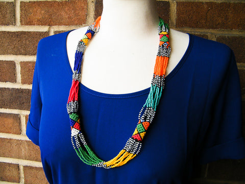 Cape Town - Black and White Beaded Strand Necklace
