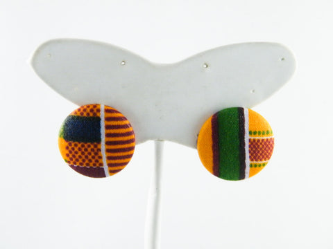 Ashanti Kente Print Button Stud Earrings