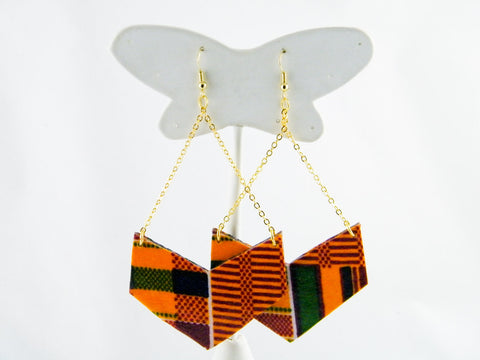 Ashanti Kente Print Chevron Earrings