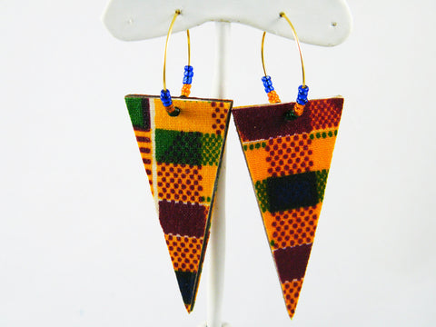 Ashanti Kente Print Hoop & Triangle Dangle Earrings