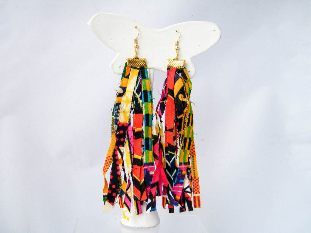 Reflycle Ankara & Animal Raw Edge Tassel Earrings