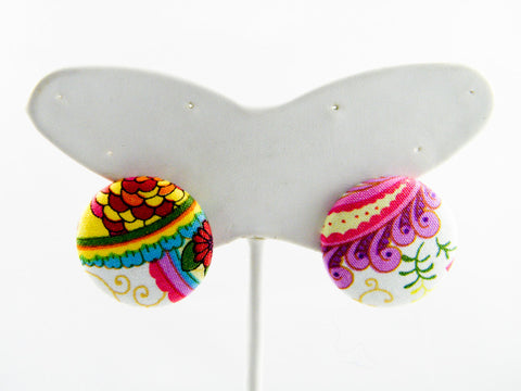 Holi Floral Button Stud Earrings