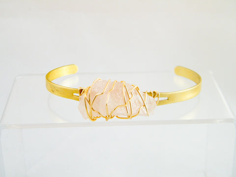 Aphrodite Rose Quartz Wire Wrapped Cuff Bracelet