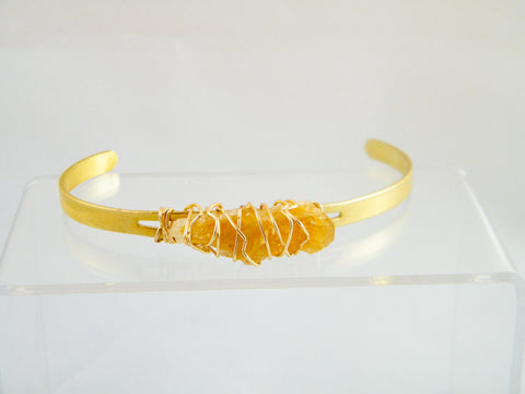 Lakshmi Raw Citrine Wire Wrapped Cuff Bracelet