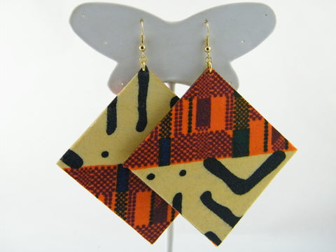 Fatou Kente Print/Mud Cloth Print Diamond Earrings