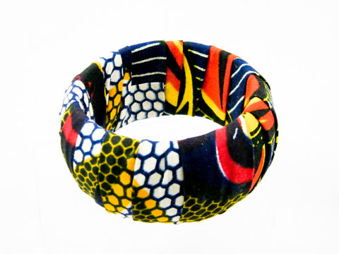 Ayana/Honey Ankara Half & Half Thick Bangle Bracelet