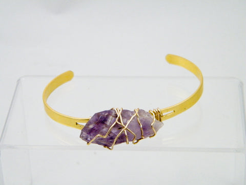 Oya Raw Amethyst Wire Wrapped Cuff Bracelet