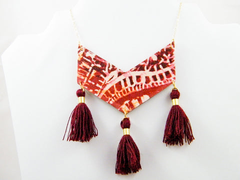 Ananda Triple Tassel Paisley & Floral Chevron Necklace