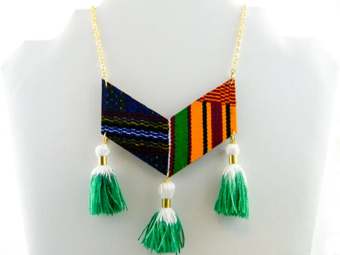 Ashanti Kente Print Triple Tassel Chevron Necklace