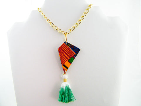 Ashanti Kente Print Tassel Pendant Necklace
