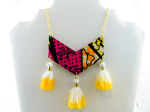 Ayo Triple Tassel Chevron Necklace