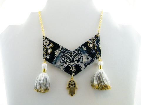 Fatima Tassel & Charm Chevron Necklace