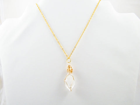 Ishtar Quartz Wire Wrapped Pendant Necklace