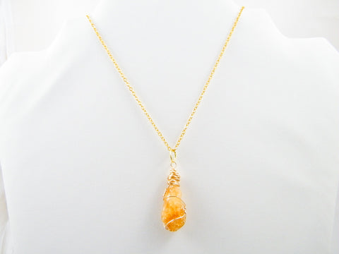 Lakshmi Citrine Wire Wrapped Pendant Necklace