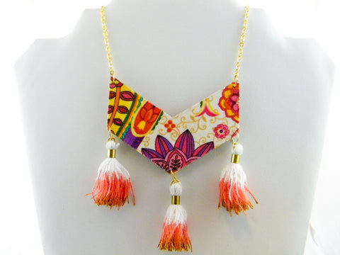 Holi Floral Triple Tassel Chevron Necklace