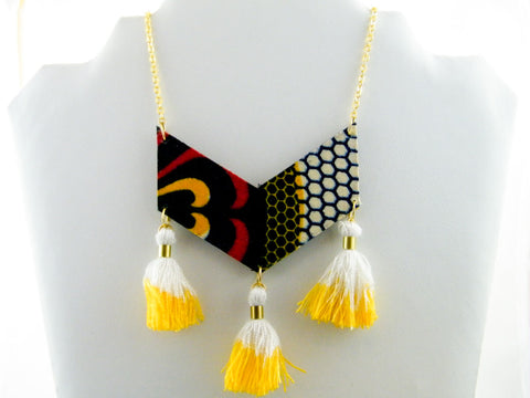 Honey Triple Tassel Chevron Necklace
