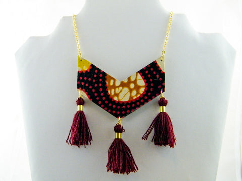 Keyara Triple Tassel Chevron Necklace