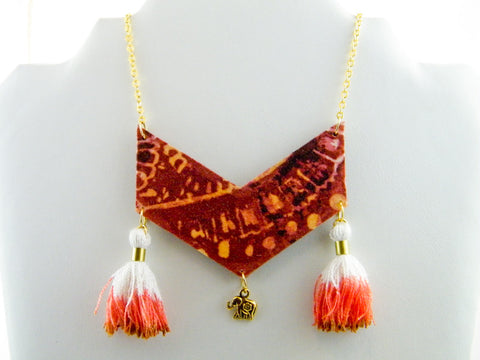 Lakshmi Tassel & Charm Chevron Necklace