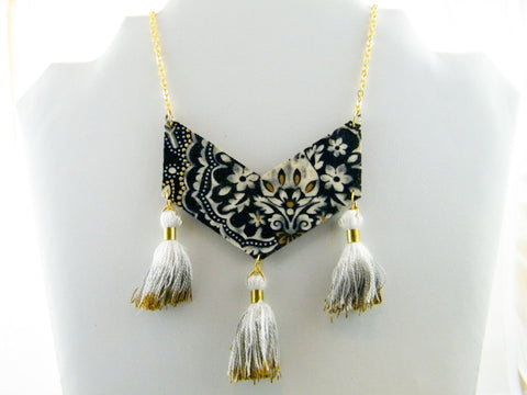 Twilight In Turkey Triple Tassel Chevron Necklace