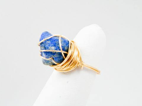 Ma'at Lapis Lazuli Wire Wrapped Ring