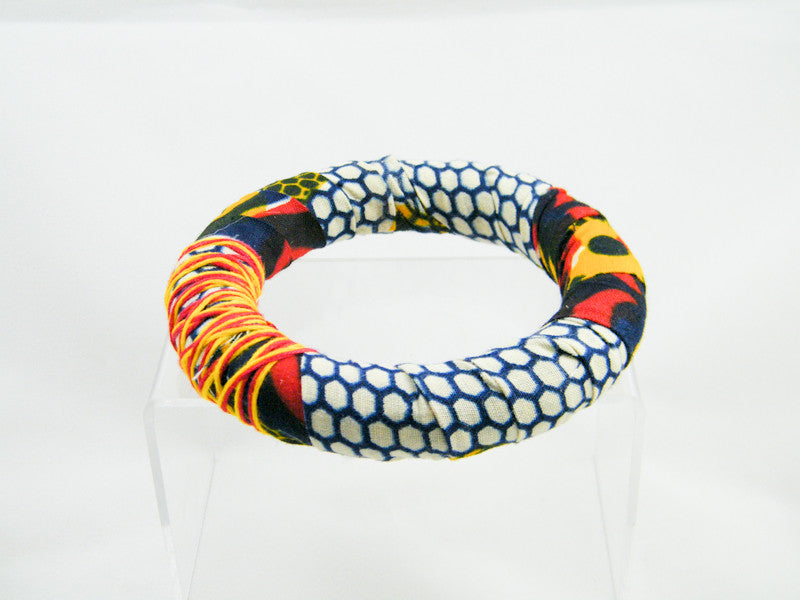 Honey Ankara Thick Round Bangle Bracelet