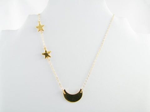 Celestine Crescent Moon and Stars Pendant Necklace