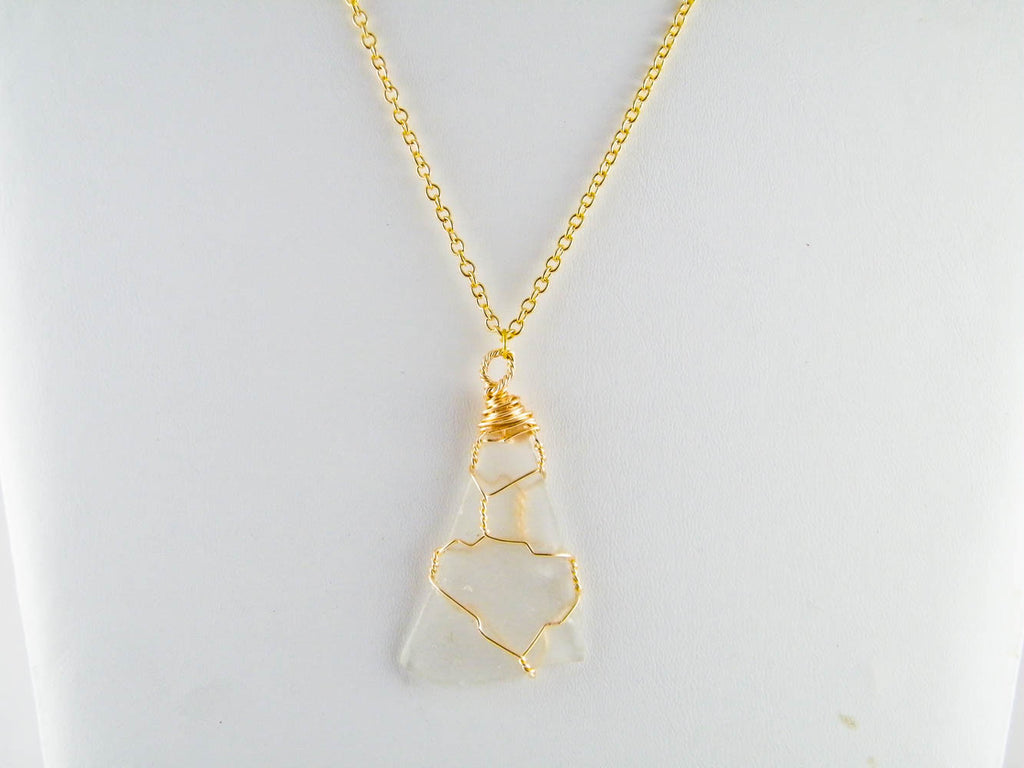 Coney Island - Clear/Gold Sea Glass Wire Wrapped Pendant Necklace