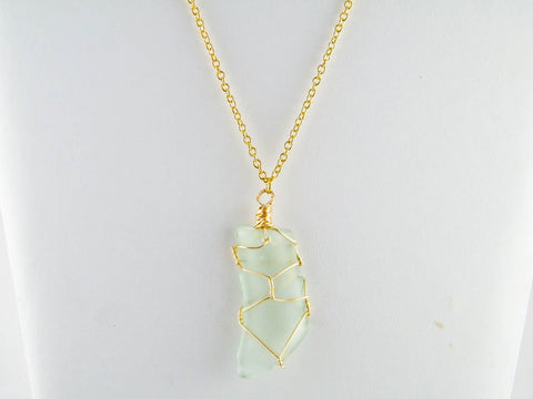 Coney Island - Seafoam/Gold Sea Glass Wire Wrapped Pendant Necklace