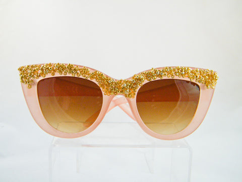 Patrice Gold Sparkle Cat Eye Sunglasses