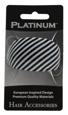Platinum Oval French Clip Stripes