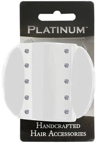 Platinum Euro Clip Small White Diamonte