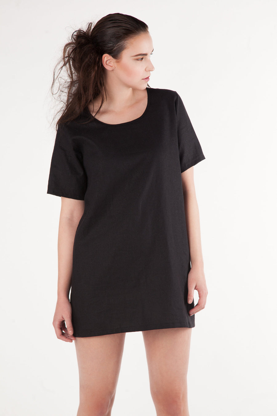 "Short Sleeve Shift Dress - ""Madeson"" - Black - Rebecca Rae Design Inc."