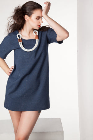 "Shift Dress - ""Madeson"" - Dark Blue Chambray - Rebecca Rae Design Inc."