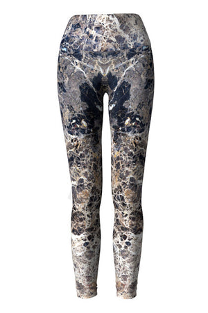 marble yoga leggings - blue