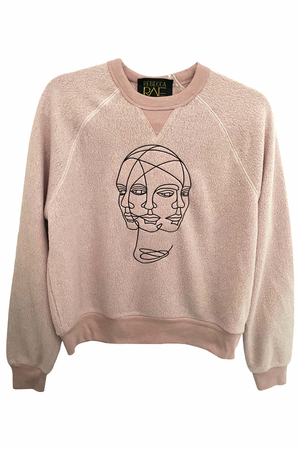 Blush Color, Mindfulness, Embroidered, Crewneck Crop Sweatshirt