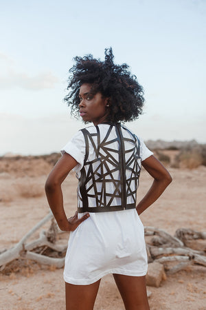 Geometric Cutout Vest - Black