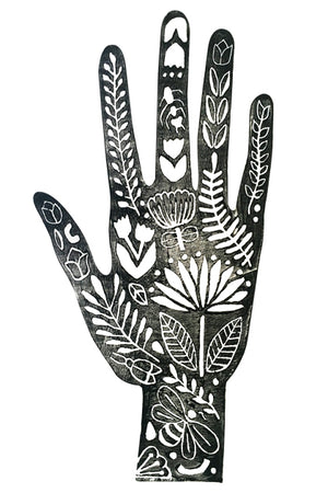 folk art, hand, flowers, stamp