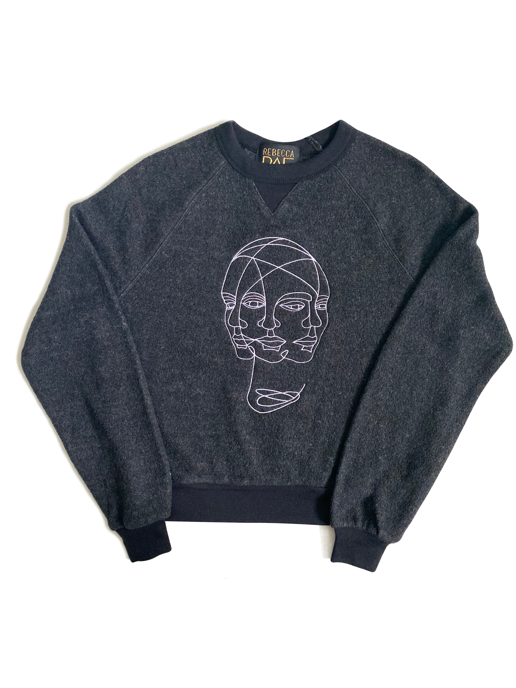 Mindfulness, Embroidered, Crewneck Crop Sweatshirt