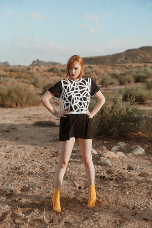 Geometric Cutout Vest - White