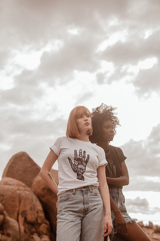 Gender-neutral, Block Print, White Cotton Graphic T-shirt